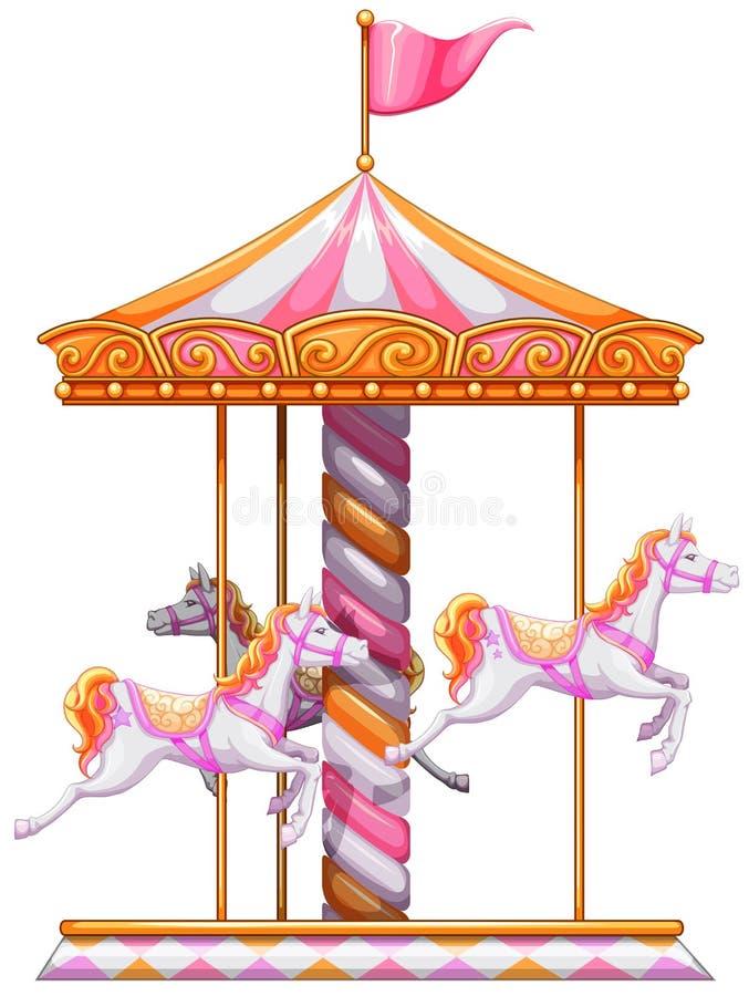 En färgglad karusell royaltyfri illustrationer