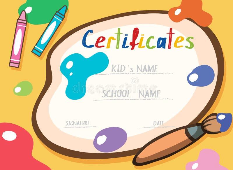 En färgglade Art Certificate Template stock illustrationer