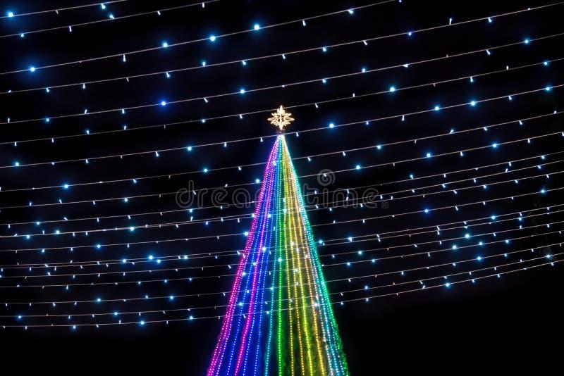 En färgstark julgran med lätta strömledningar med stjärnan överst på Remate de Paseo Montejo, Merida, Yucatan, Mexiko royaltyfria foton
