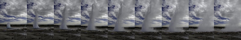 En följd av bilder som tas under ett utbrott i Augusti 2018 arkivfoton