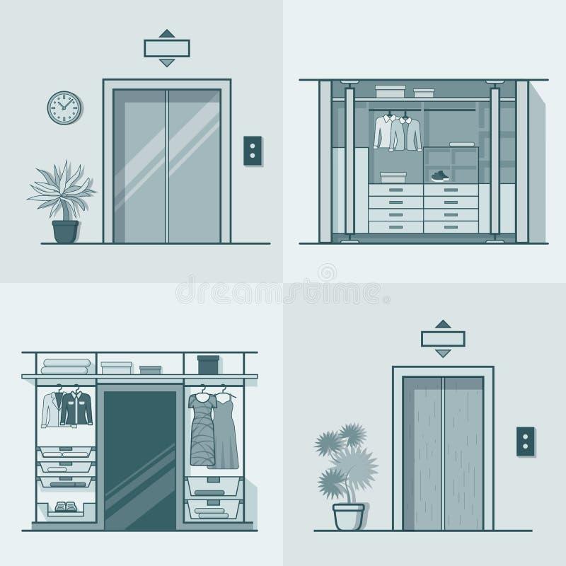 En för hiss för garderobloge inre inomhus stock illustrationer