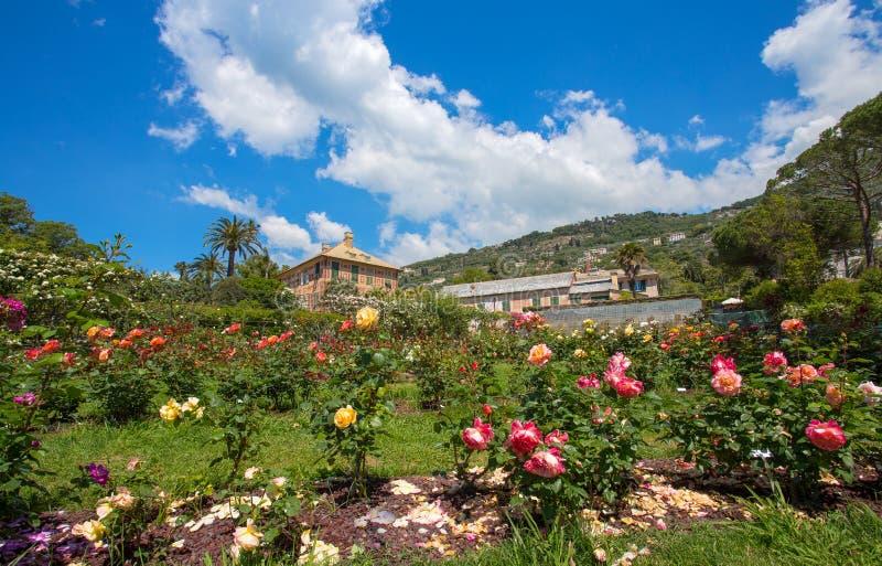`en För Il Roseto för rosträdgård` i Genoa Genova Nervi, inom Genoa Nervi Parks, Italien royaltyfri foto