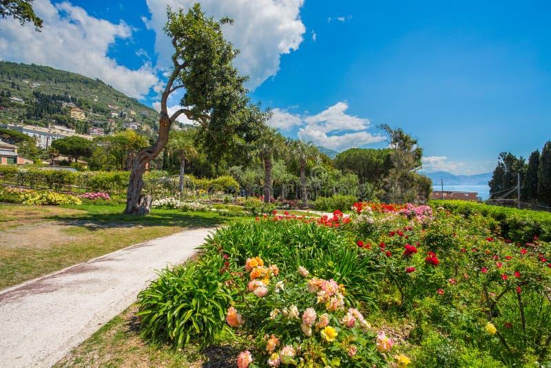`en För Il Roseto för rosträdgård` i Genoa Nervi, inom Genoa Nervi Parks, Italien royaltyfri foto