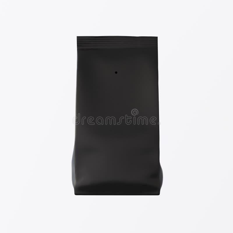 En förbigår målad bakgrund för kaffe för produkter för massa för svartpapperspacken isolerad tom te Ren klar behållaremodell royaltyfria bilder