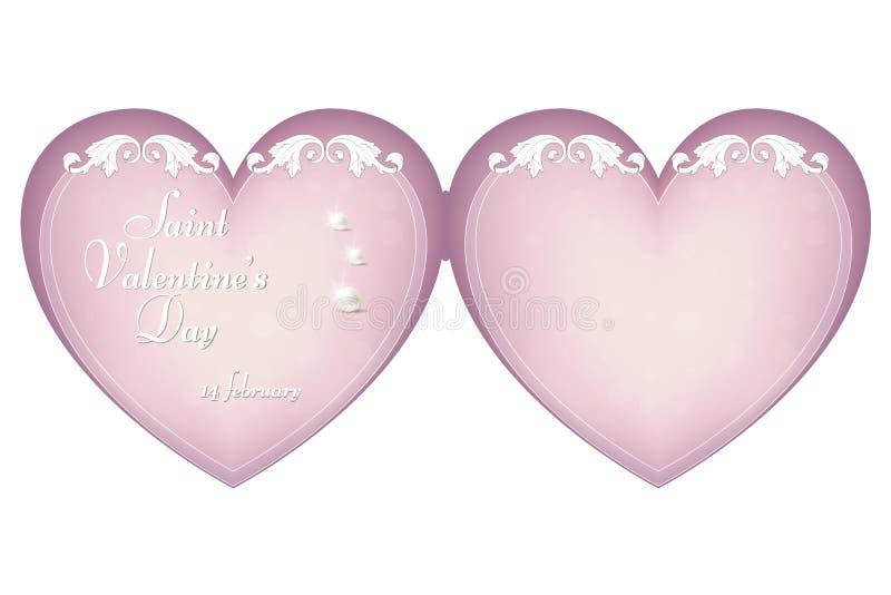 En försiktig rosa färg hjärta-formade papp för dag för valentin` s på Februari 14 Prydnad i tappning, viktoriansk stil vektor illustrationer