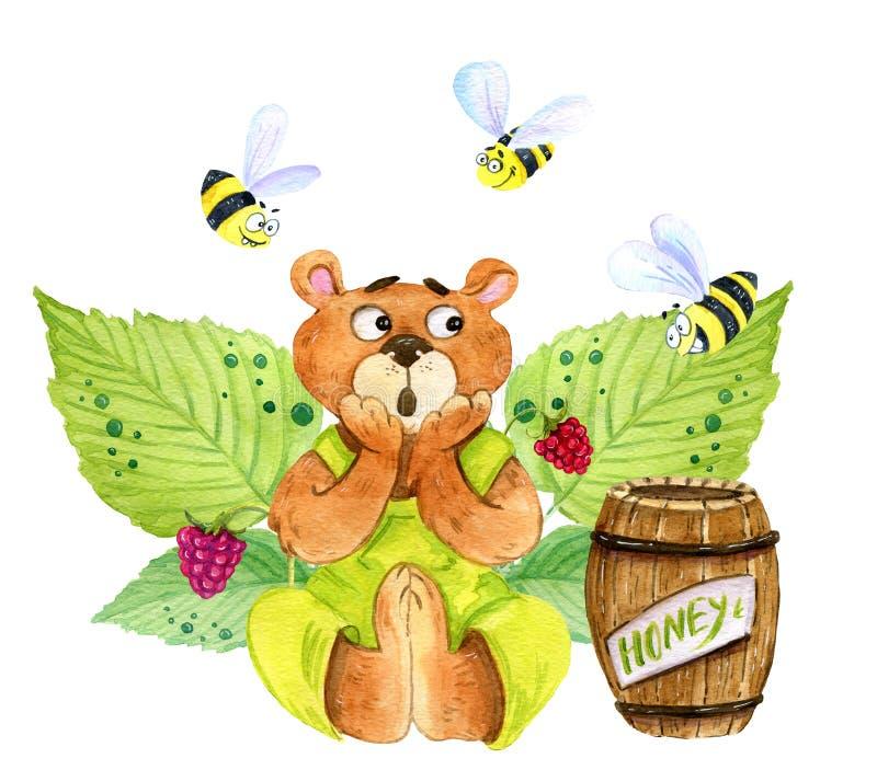 En förskräckt björn och bin stock illustrationer