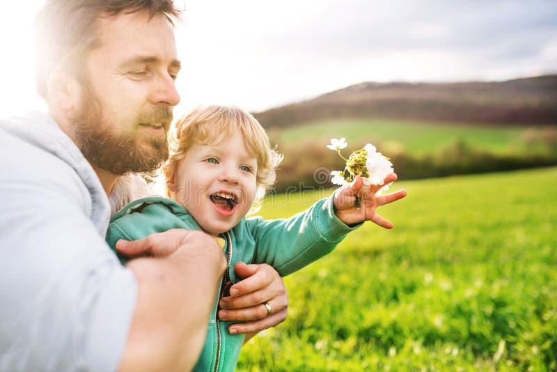En fader med hans litet barnson utanför i vårnatur arkivfoton