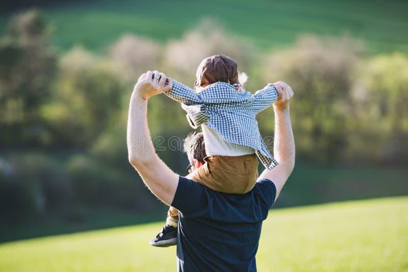 En fader som på ryggen ger ritt för litet barnson utanför i vårnatur royaltyfri foto