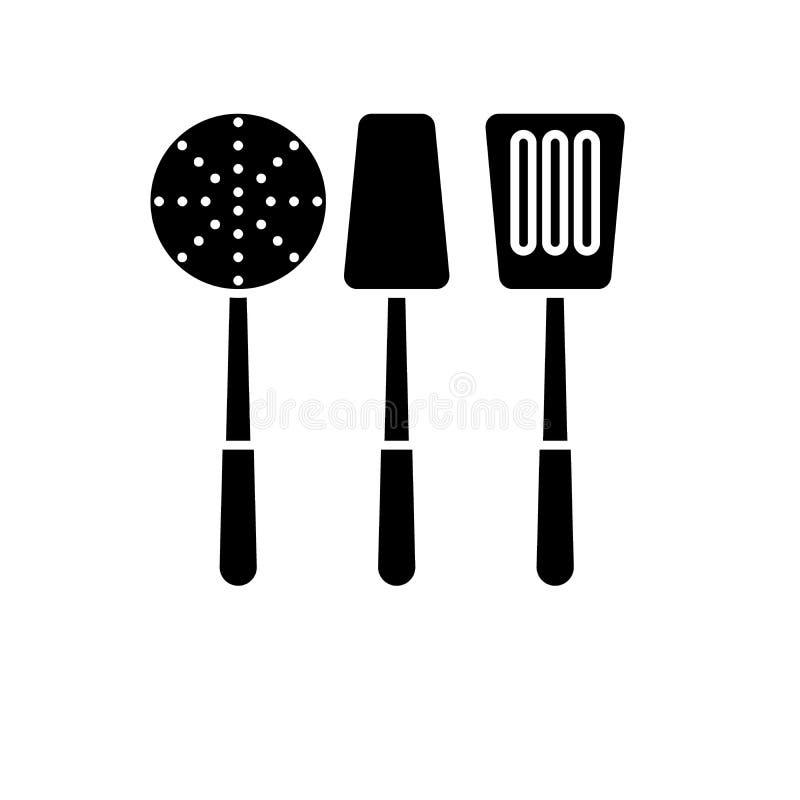 En faisant cuire l'icône noire de vaisselle, dirigez pour se connecter le fond d'isolement Cuisson du symbole de concept de vaiss illustration stock