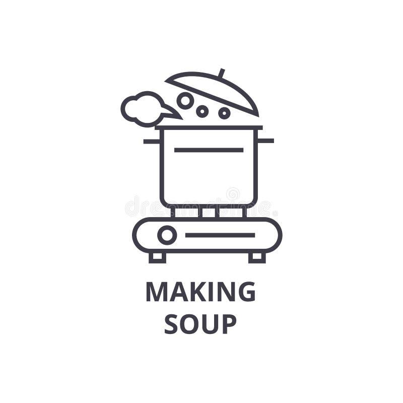 En faisant la soupe rayez l'icône, signe d'ensemble, symbole linéaire, vecteur, illustration plate illustration de vecteur