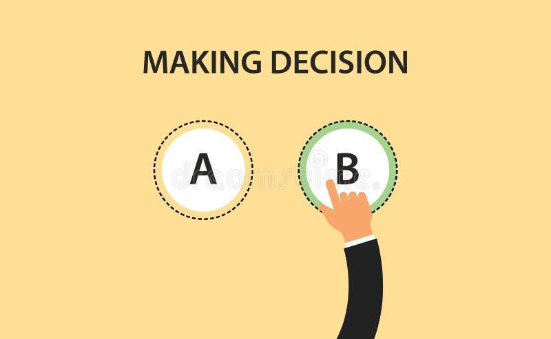 En faisant le symbole de concept de décision avec deux l'option a et b avec la main choisissez un de lui illustration libre de droits