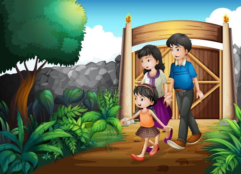 En familj inom porten royaltyfri illustrationer