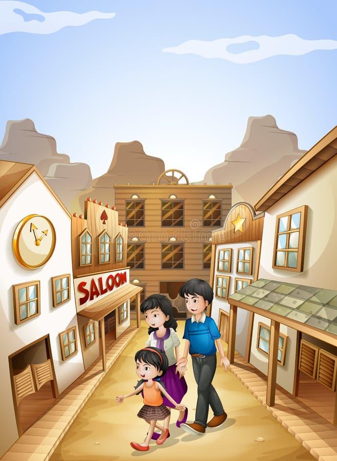 En familj som går till salongstången stock illustrationer