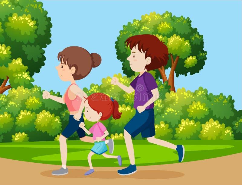 En familj som joggar i parkera vektor illustrationer