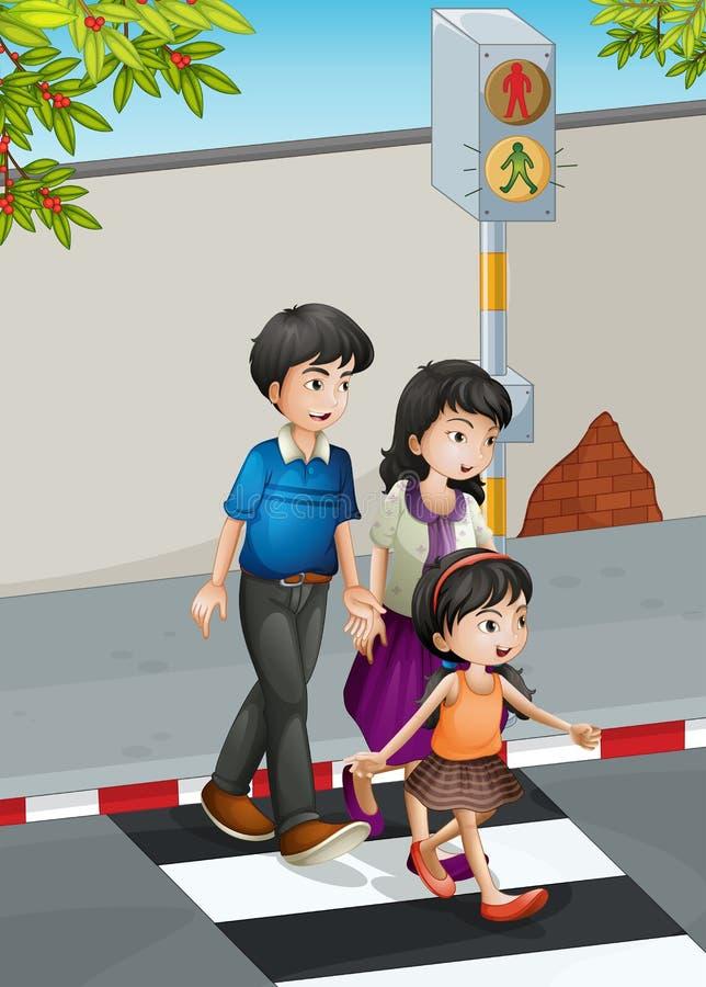 En familj som korsar gatan royaltyfri illustrationer
