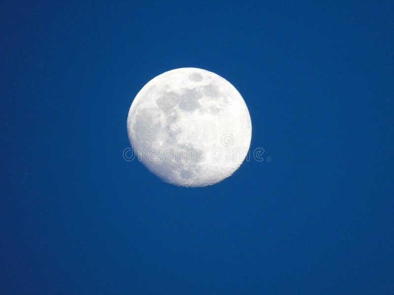 En fantastisk överskrift av månen vid dag arkivfoton