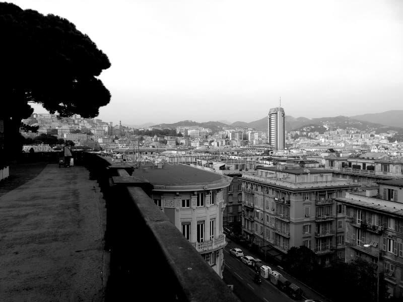 En fantastisk överskrift av staden av Genova arkivfoton