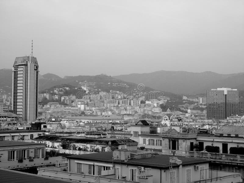 En fantastisk ?verskrift av staden av Genova royaltyfria foton