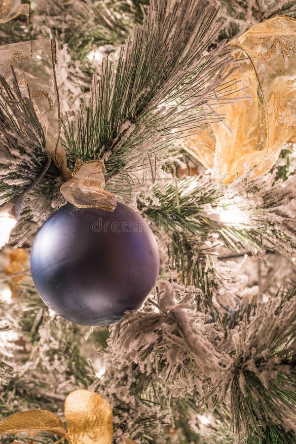 En fast blå julprydnad på en flockas julgran fotografering för bildbyråer