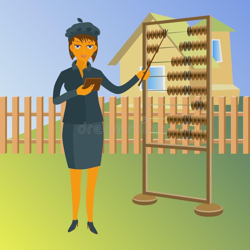 En fastighetsmäklare med kulrammet Till salu illustration för vektoregenskap royaltyfri illustrationer