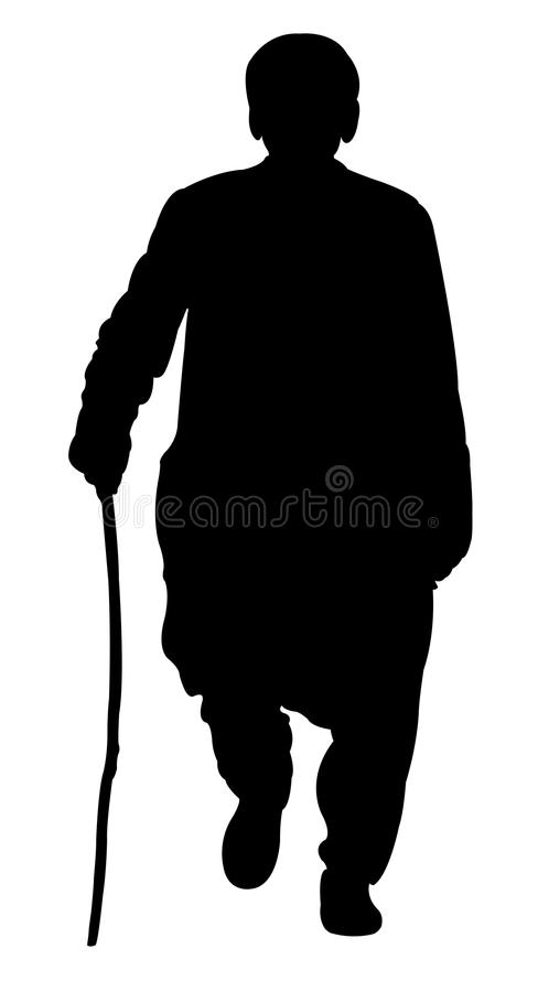 En fattig man med att gå pinnen stock illustrationer