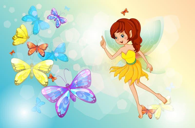 En fe med färgrika fjärilar royaltyfri illustrationer