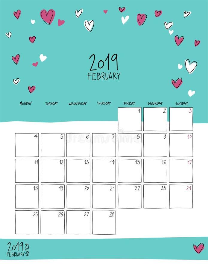 En febrero de 2019 calendario de pared Doodle el estilo stock de ilustración