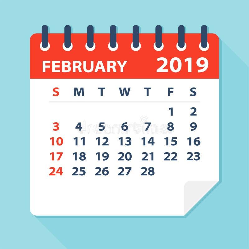 En febrero de 2019 hoja del calendario - ejemplo del vector stock de ilustración