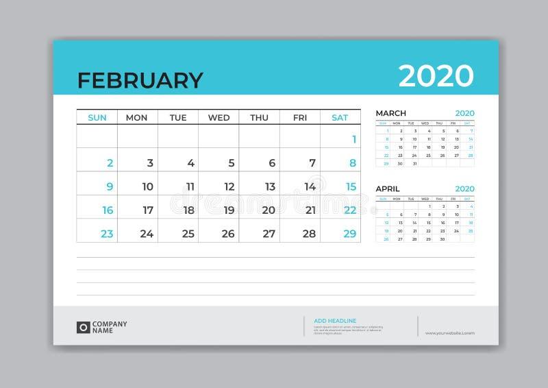 EN FEBRERO DE 2020 plantilla, calendario de escritorio por 2020 años, comienzo de la semana el domingo, diseño del planificador,  libre illustration