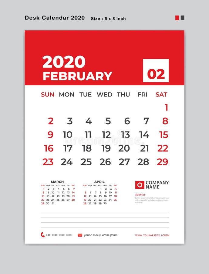 En febrero de 2020 plantilla del año, calendario de escritorio por 2020 años, comienzo de la semana el domingo, planificador, efe ilustración del vector