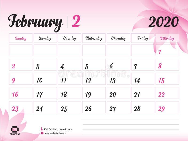 En febrero de 2020 plantilla del año, vector 2020, diseño del calendario del calendario de escritorio, concepto rosado para los c ilustración del vector