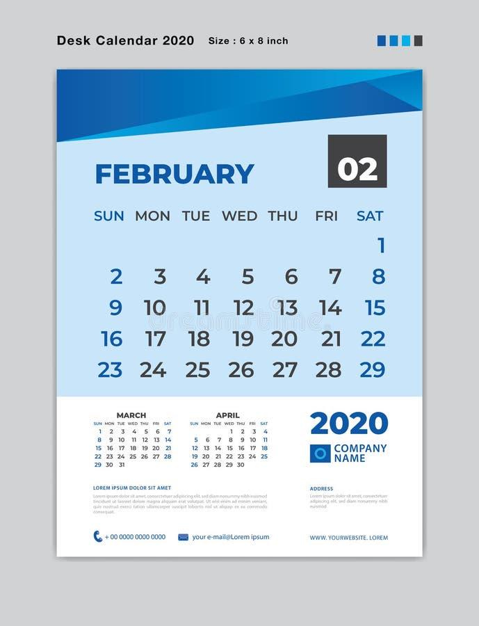 En febrero de 2020 plantilla del mes, calendario de escritorio por 2020 años, comienzo de la semana el domingo, planificador, efe libre illustration