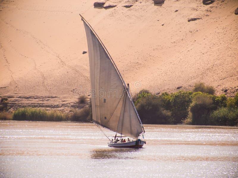 En feluccasegling på flodNilen i Egypten royaltyfri fotografi