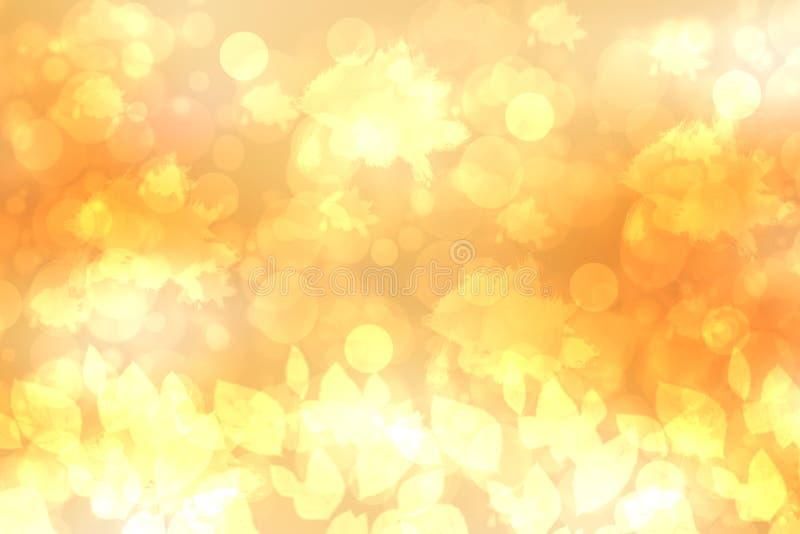En festlig abstrakt guld- gul lutningbakgrundstextur med blänker defocused gnistrandebokehcirklar och sidor Kortbegrepp royaltyfria foton
