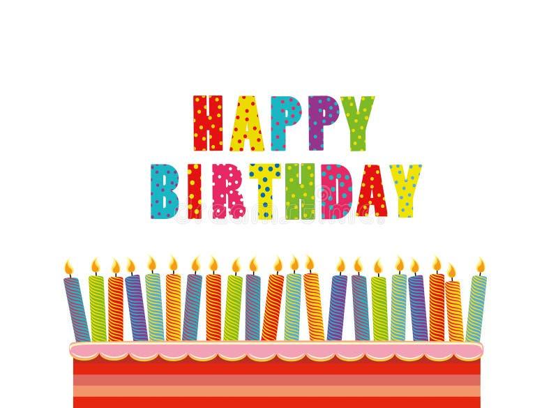 En festlig stor kaka med stearinljus på en ställning lycklig födelsedag stock illustrationer
