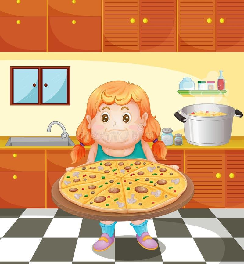 En fet ung kvinna med en pizza stock illustrationer