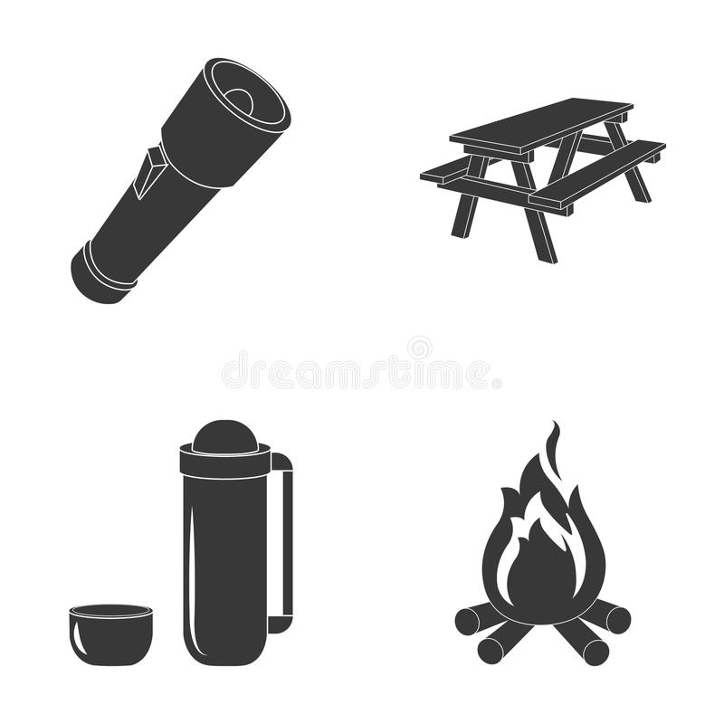 En ficklampa, en tabell med en bänk, en termos med en kopp, ett svängbart hjul Campa fastställda samlingssymboler i svart stilvek vektor illustrationer