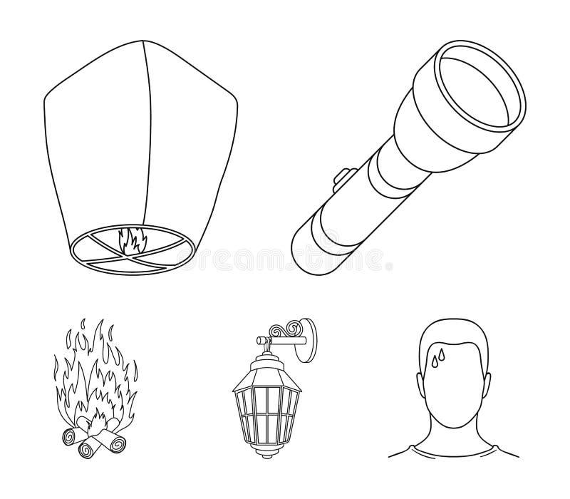 En ficklampa, en luftlykta, en lykta på väggen, en brasa För uppsättningsamling för ljus källa symboler i översikt utformar vekto royaltyfri illustrationer