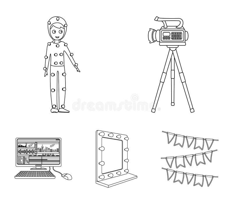 En filmkamera, en dräkt för specialeffekter och annan utrustning Symboler för samling för danandefilmuppsättning i översikt utfor stock illustrationer