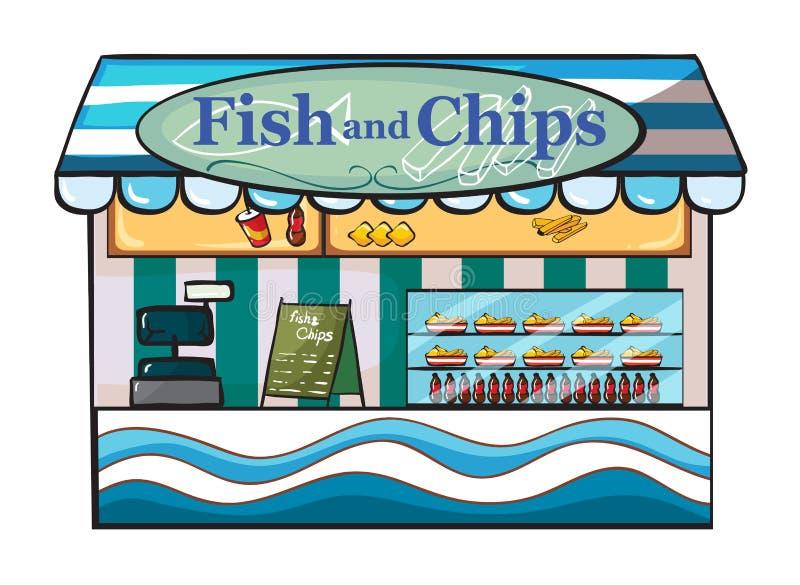 En fisk och chiper shoppar stock illustrationer