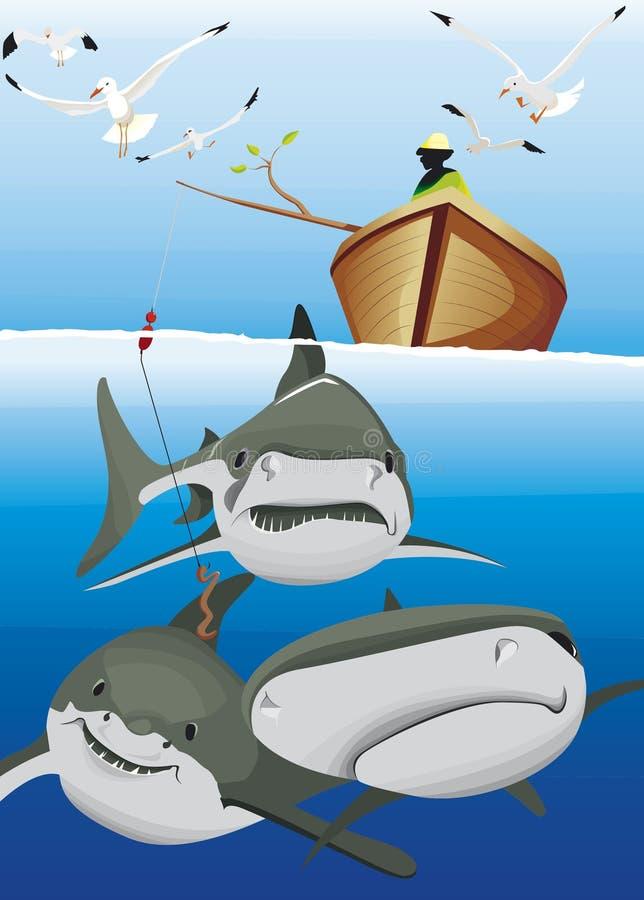 En fiskare i fartygöverkant av hajen stock illustrationer