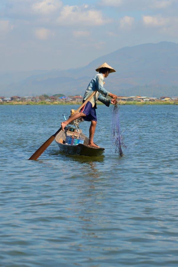 En fiskare kastar in i sjönätverket som kontrollerar fartyget med hans fot Den traditionella vägen av fiske på Inle sjön myanmar royaltyfri fotografi
