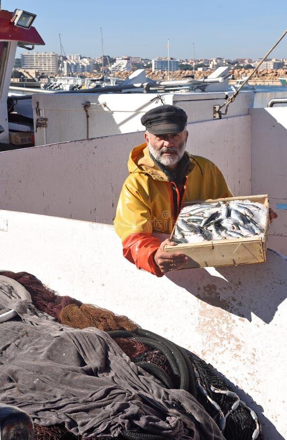 En fiskare med en fiskask inom en fiskebåt royaltyfri foto