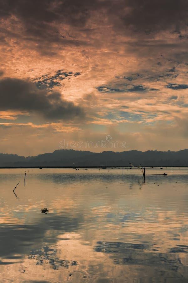 En fiskare på bambuflotten royaltyfri bild