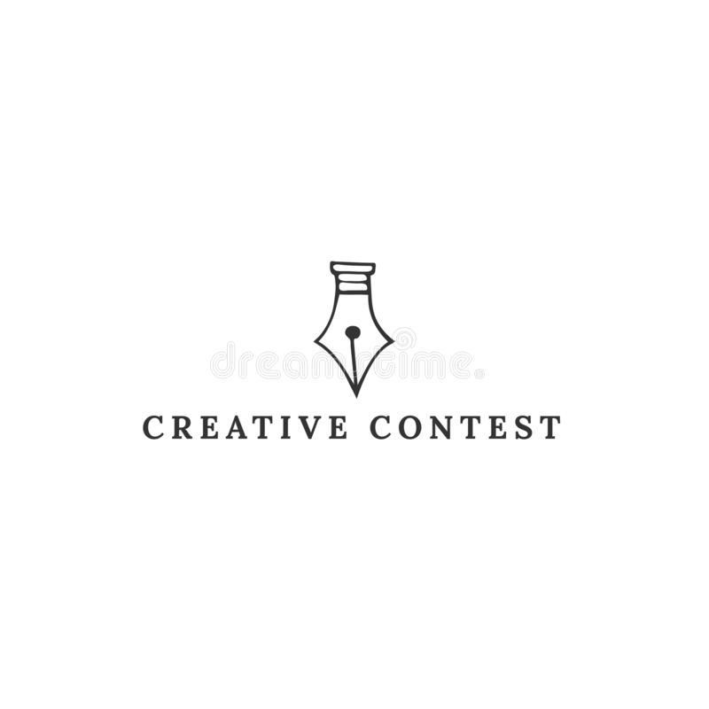En fjäderpennspets, mall för logo för vektorhand utdragen Id?rikt stridtema vektor illustrationer