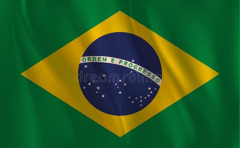 En flagga av Brasilien som vinkar royaltyfri illustrationer