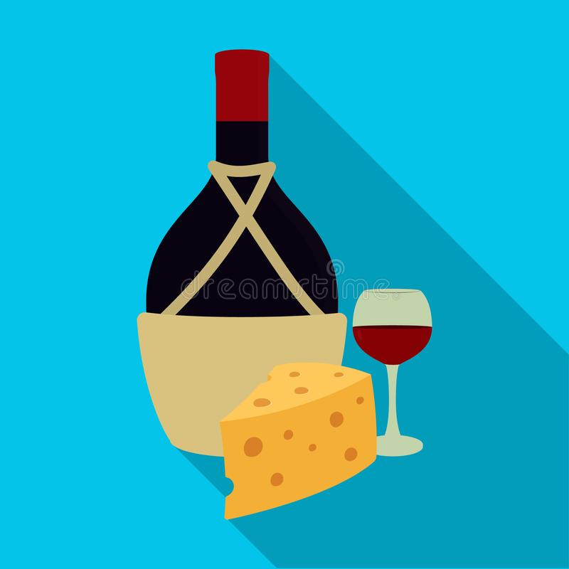 En flaska av alkohol, vin i ett exponeringsglas och ost Enkel symbol för alkohol i plan rengöringsduk för illustration för materi royaltyfri illustrationer