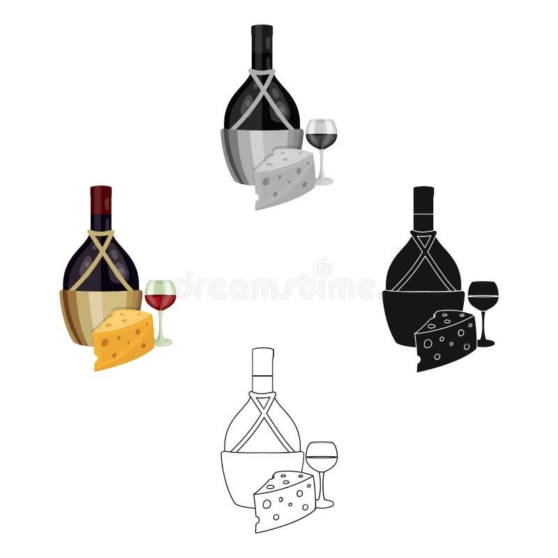 En flaska av alkohol, vin i ett exponeringsglas och ost Enkel symbol för alkohol i tecknade filmen, svart materiel för stilvektor stock illustrationer