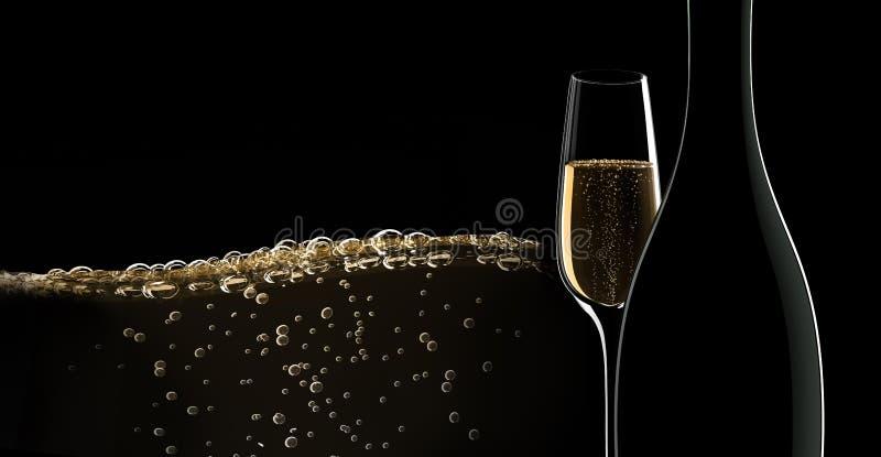 En flaska av champagne med ett exponeringsglas vektor illustrationer