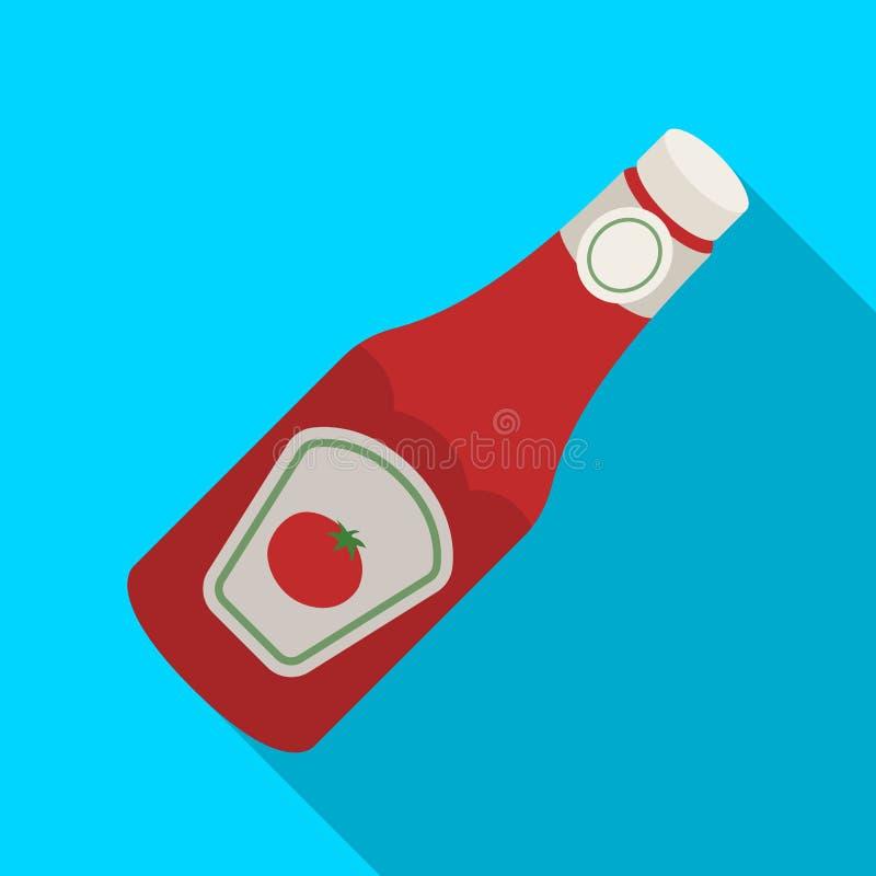 En flaska av ketchup Enkel symbol för BBQ i plan rengöringsduk för illustration för materiel för stilvektorsymbol royaltyfri illustrationer
